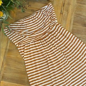 Quicksilver Tan And White Striped Dress